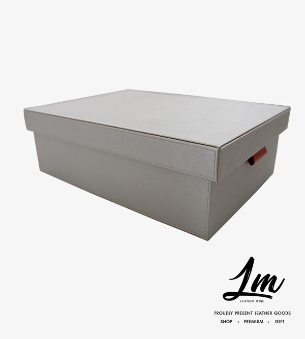 190344 - กล่องหนังเก็บของ สีขาว