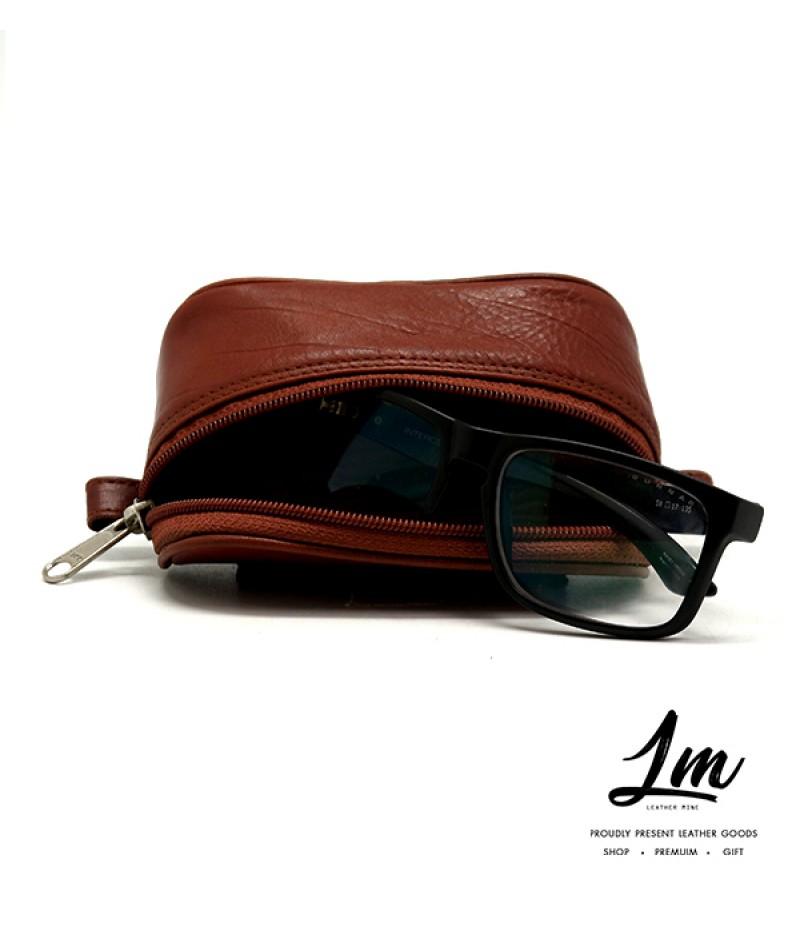 กระเป๋าใส่แว่นหนังแท้