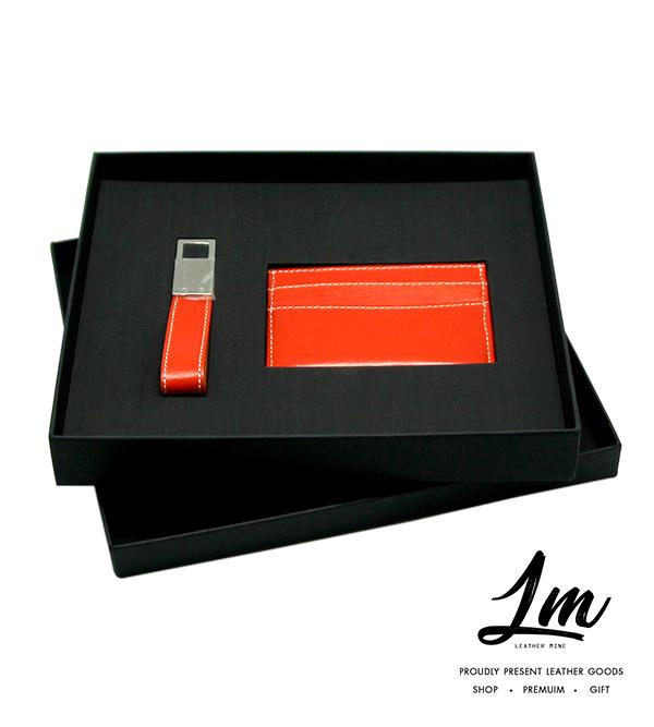 ชุดของพรีเมี่ยม - พวงกุญแจ & ซองนามบัตร สีส้ม